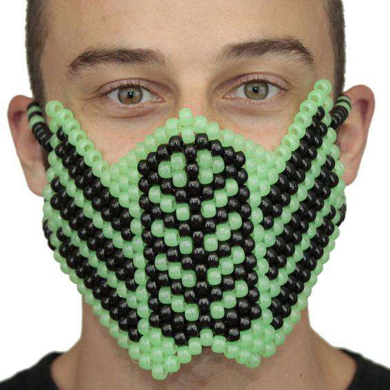 Glow In The Dark Green Reptile Mortal Kombat Full Kandi Mask - Kandi Gear