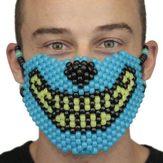 Glow In The Dark Blue and Yellow Wolf  Kandi Mask Full - Kandi Gear