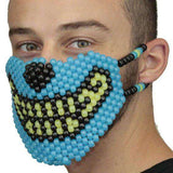 Glow In The Dark Blue and Yellow Wolf  Kandi Mask Full