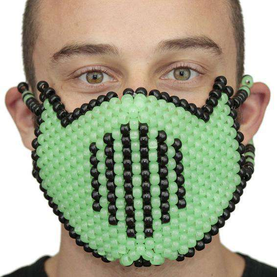 Glow In The Dark Green Vented Ninja Full Kandi Mask - Kandi Gear