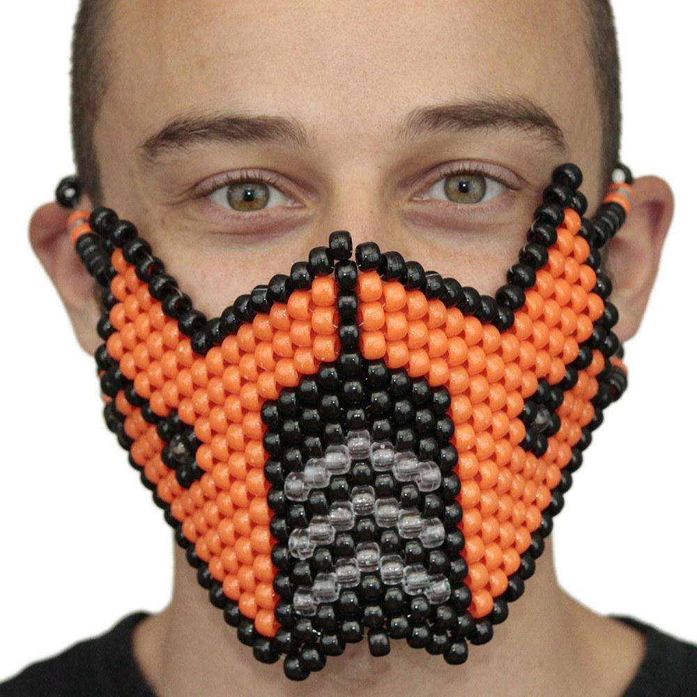 Orange SubZero V1 Full Kandi Mask Mortal Kombat - Kandi Gear