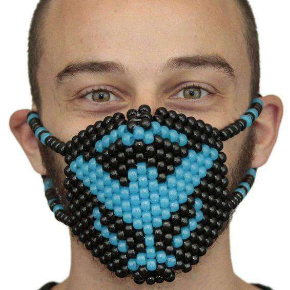 Glow In The Dark Blue Tiesto Surgical Kandi Mask - Kandi