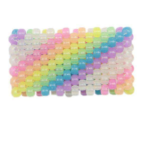 Glow in the Dark Diagonal Rainbow Kandi Cuff - Kandi Gear - 1