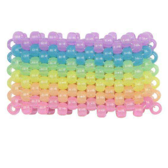 Glow in the Dark Horizontal Rainbow Kandi Cuff - Kandi