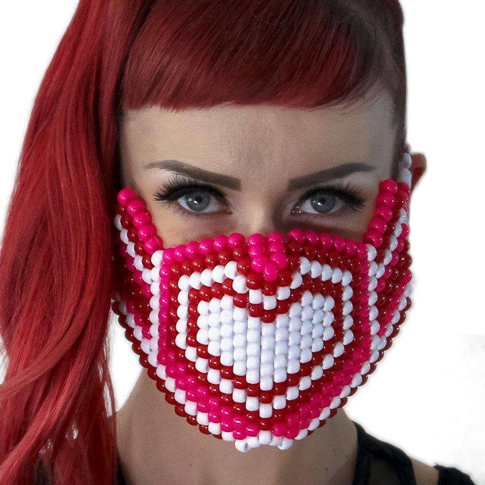 Pink and White Hearts Kandi Mask - Kandi Gear
