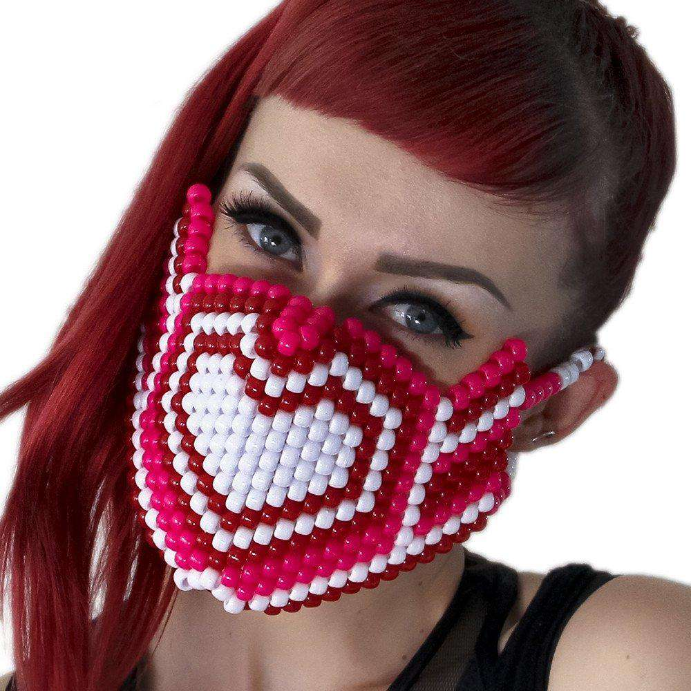 Pink and White Hearts Kandi Mask - Kandi