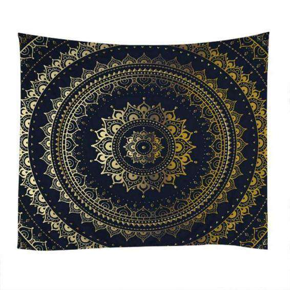 Gold & Black Mandala Tapestry - Kandi Gear