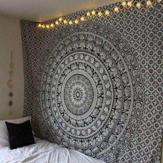 Black Mandala Tapestry - Kandi Gear
