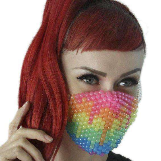 Glow In The Dark Paintball Rainbow Drip Kandi Mask