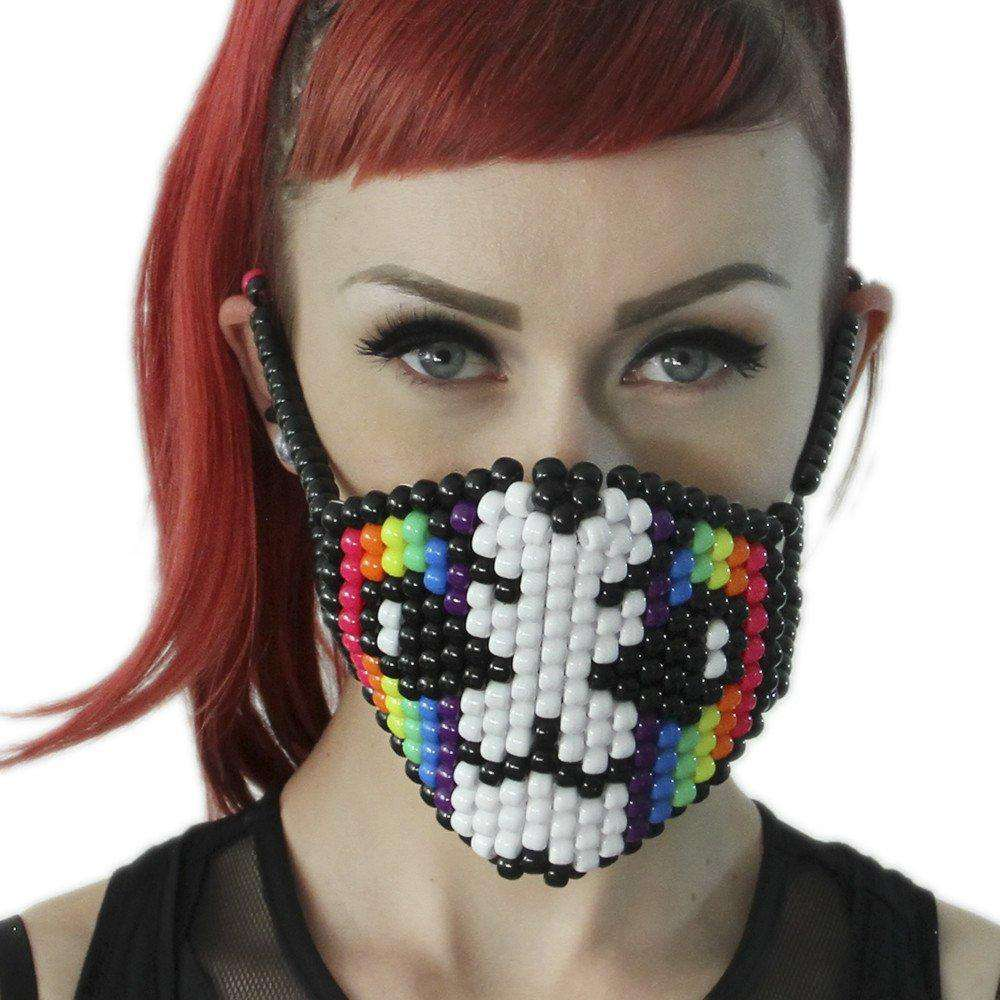 Rainbow Striped Cat Surgical Kandi Mask - Kandi