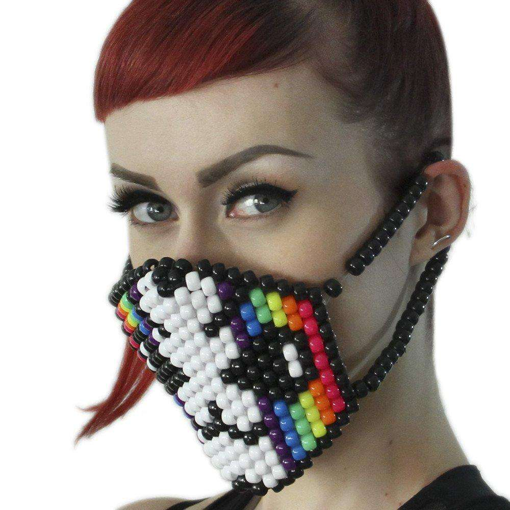 Rainbow Striped Cat Surgical Kandi Mask