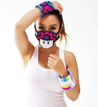 Super Mario Mushroom Kandi Mask Pink/Purple Surgical - Kandi Gear