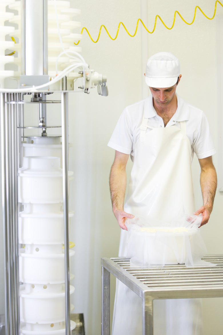 Wrapping cheese at Uplands Cheese Company