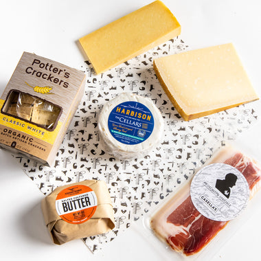 Saxelby's Best Sellers Box - sample our best selling artisan cheese, prosicutto, cultured butter, and organic crackers. Shop for cheese gifts online at Saxelby artisan cheese