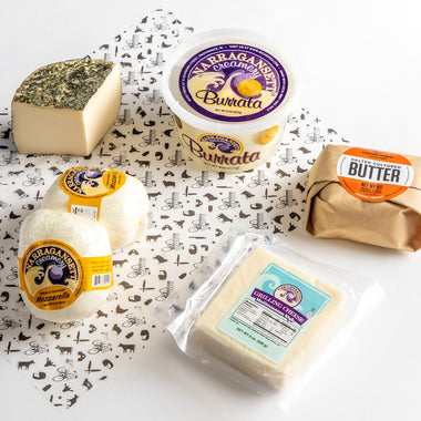 Summer Cooking Essentials - a collection of summer cooking cheeses including fresh mozzarella, burrata, grilling cheese, ricotta salata, and ploughgate creamery cultured butter