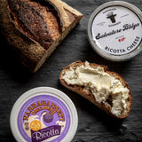 saxelby cheesemongers connoisseur's club summer collection - two different kinds of ricotta cheese and bread