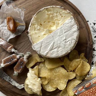 Mun-Cheese - a collection of snacks! Includes Jasper Hill Farm Harbison, Big Picture Farm Goat Caramellows, and Route 11 Potato Chips
