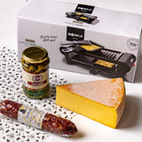Raclette party set - raclette cheese, raclette machine, cornichons and soppressata