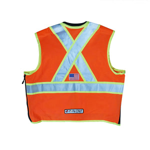 Safety Apparel X-Back Party Chief Summer Survey Vest, Class 2 - Orange -Safety- eGPS Solutions Inc.