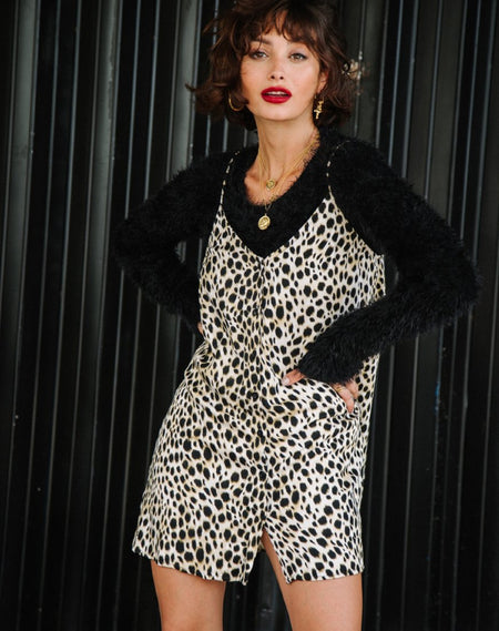 Akina Dress in Black Satin Cheetah
