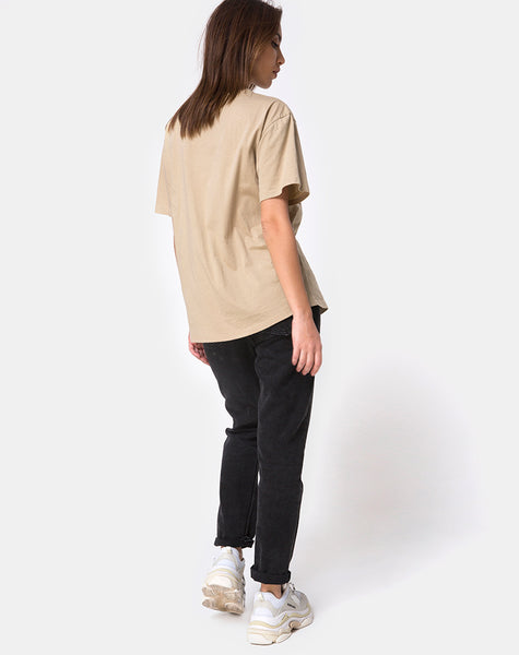 Oversize Basic Tee in Tan with Angel Embroidery