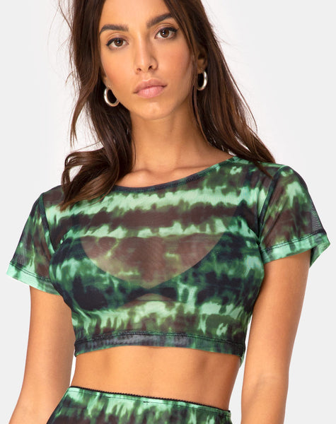 Tindy Crop Top In Tie Dye Turquoise Mesh By Motel by Motel