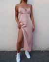 Cypress Midi Dress in Satin Cheetah Dusty Pink