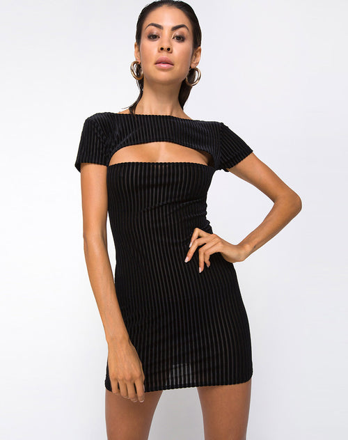 Shimmie Bodycon Dress in Velvet Sheer Stripe by Motel