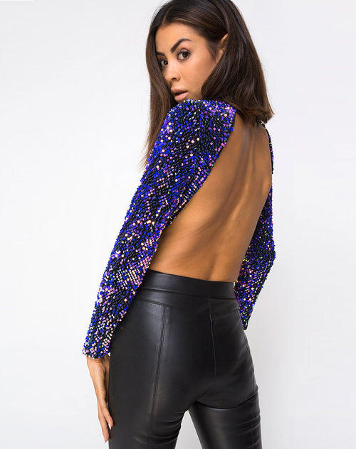 Nix Backless Bodice in Velvet Laser Pink Sequin by Motel