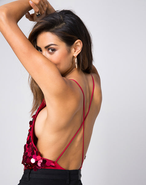 Abela Bodice in Red Cherry Disc Sequin by Motel