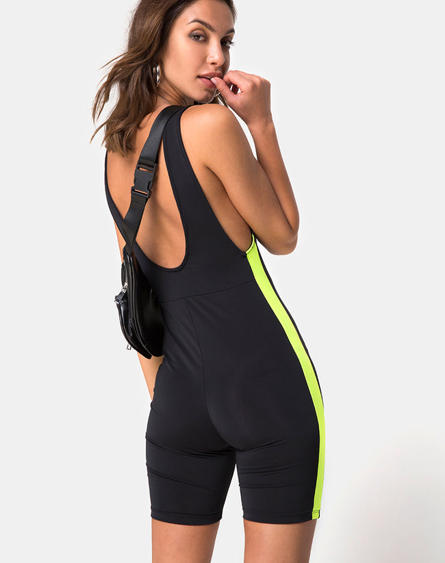 Acashi Unitard in Black with Lime Side Stripe by Motel
