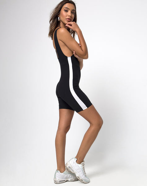 Acashi Unitard in Black with White Stripe by Motel