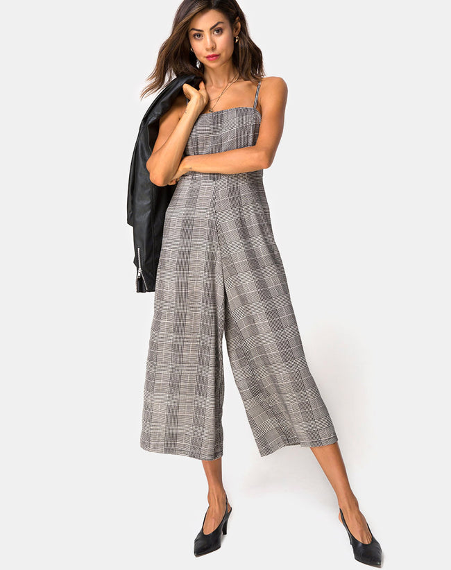 3e52fc9a776 Achem Culotte Jumpsuit in Charles Check Grey By Motel