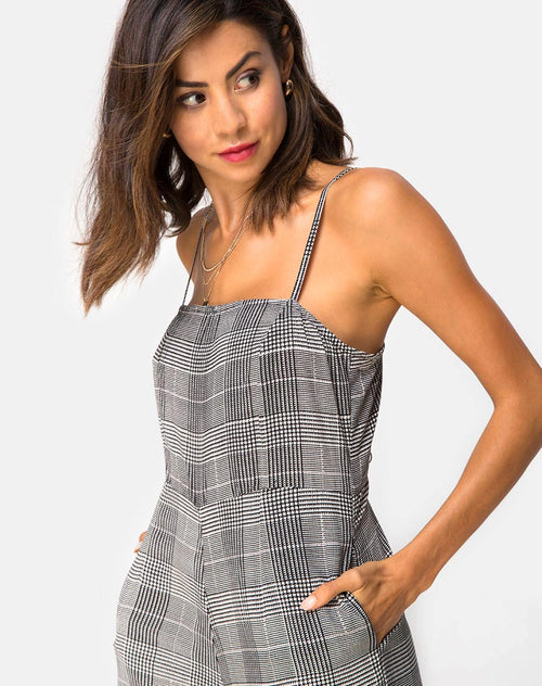 Achem Culotte Jumpsuit in Charles Check Grey By Motel