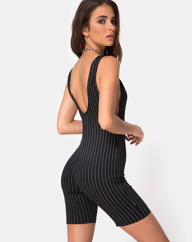 Acro Unitard in Pinstripe Black By Motel