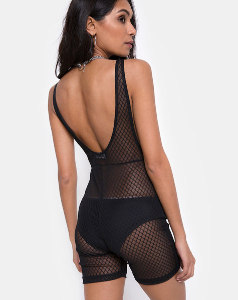 Acro Unitard in Black Fishnet by Motel