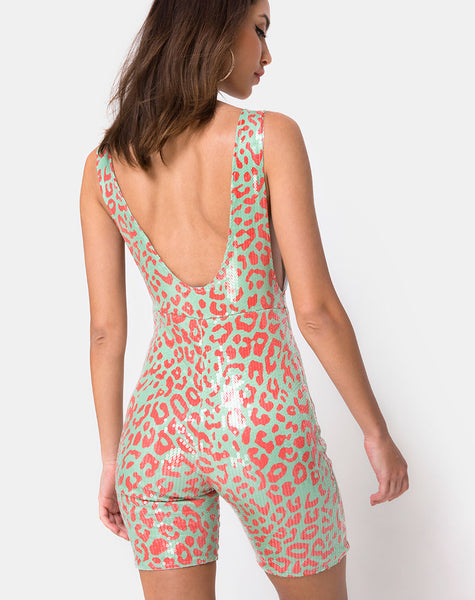 Acro Unitard in Fluro Leopard Clear Sequin by Motel