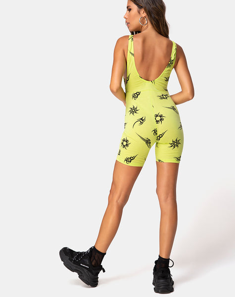Acro unitard in Green with Tribal Repeat by Motel