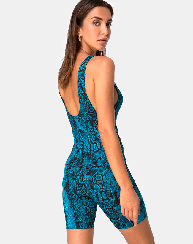 Acro Unitard in Snake Blue by Motel