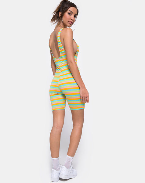 Acro Unitard in Sweet Stripe by Motel