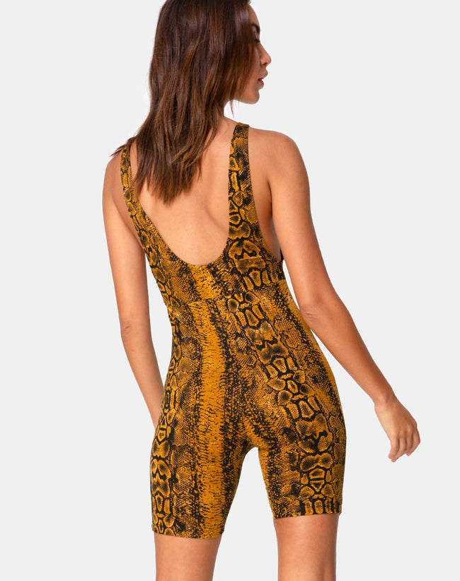 Acro Unitard in Snake Mustard by Motel