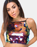Ahena Crop Top in Dragon Fruit Sequin by Motel