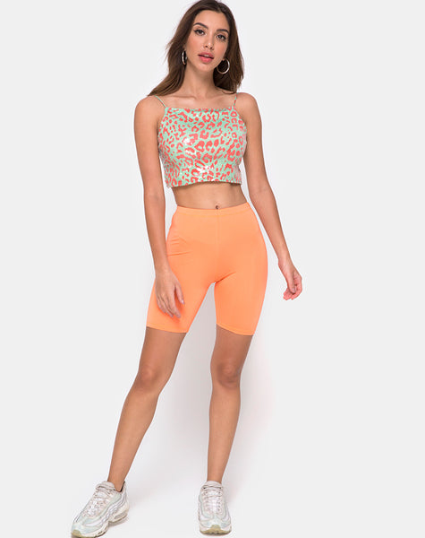 Ahena Crop Top in Fluro Leopard with Clear Sequin by Motel