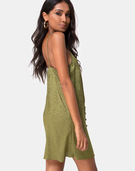 Akina Dress in Satin Cheetah Khaki by Motel