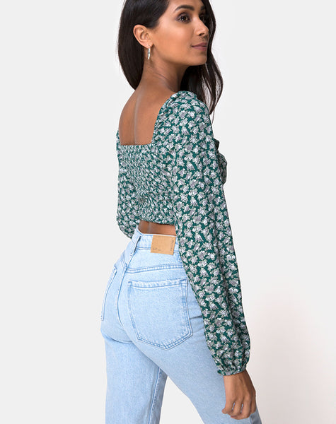 Alor Crop Top in Floral Bloom Green by Motel