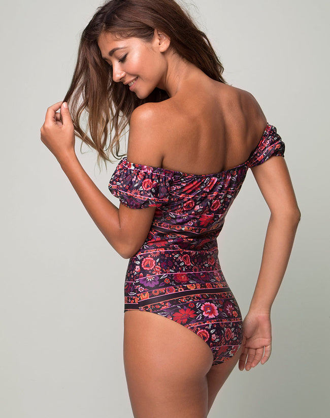 Amazona Off The Shoulder Swimsuit in Gypsy Heart by Motel