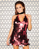 Finn Dress in Rose Big Disc Sequin by Motel