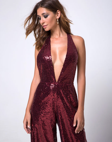 Amber Wide Leg Jumpsuit in Mini Sequin Burgundy by Motel