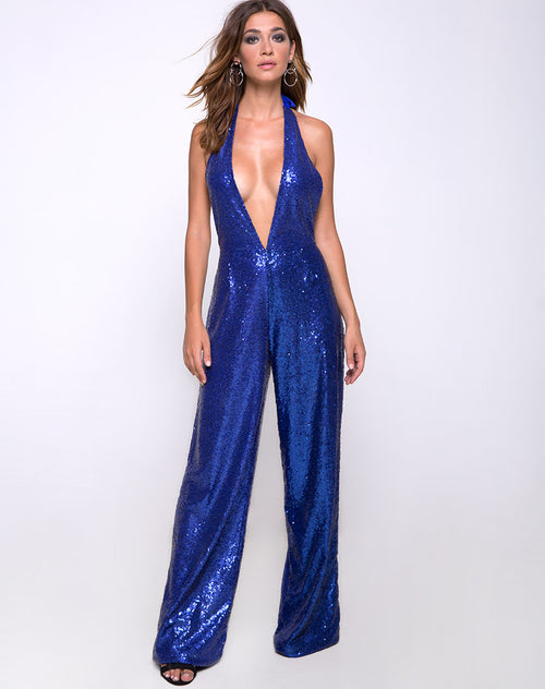 Amber Wide Leg Jumpsuit in Mini Sequin Cobalt by Motel