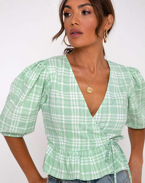 Amiya Top in Table Cloth Neo Mint by Motel